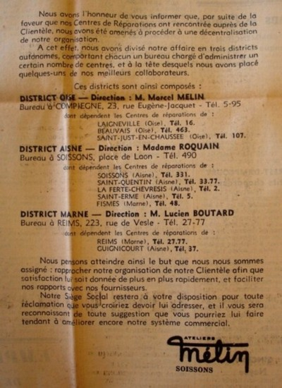 Création des succursales 16-09-1939